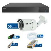 Kit CFTV 06 Câmeras Infra Full HD 1080p TVZ Tecvoz + DVR Tecvoz Flex Full HD + Acessórios