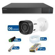 Kit CFTV 06 Câmeras Infra Full HD 1080p Intelbras VHD 1220 + DVR Tecvoz Flex Full HD + Acessórios