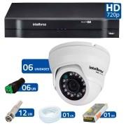 Kit CFTV 06 Câmeras Dome Infra HD 720p Intelbras VMD 1010G3 + DVR Intelbras Multi HD + Acessórios