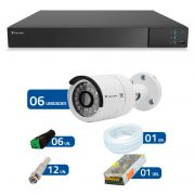Kit CFTV 06 Câmeras Infra Full HD 1080p Tecvoz + DVR Tecvoz Flex Full HD + Acessórios