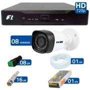 Kit 08 Câmeras de Segurança Bullet HD 720p HB Tech + DVR Focusbras + Acessórios