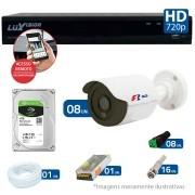 Kit CFTV 08 Câmeras Bullet Infra HD 720p FBR + DVR Luxvision All HD + HD para Gravação 1TB + Acessórios