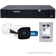 Kit CFTV IP 08 Câmeras Bullet Infra IP HD 720p Intelbras VIP 1120 B + NVR, HVR Intelbras NVD + HD 1TB