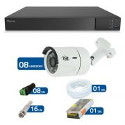 Kit CFTV 08 Câmeras Infra Full HD 1080p TVZ Tecvoz + DVR Tecvoz Flex Full HD + Acessórios