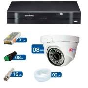 Kit CFTV 08 Câmeras Dome Infra HD 720p FBR + DVR Intelbras Multi HD + Acessórios