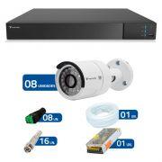 Kit CFTV 08 Câmeras Infra Full HD 1080p Tecvoz + DVR Tecvoz Flex Full HD + Acessórios