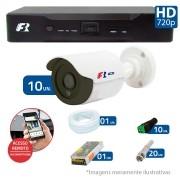 Kit CFTV 10 Câmeras Bullet Infra HD 720p FBR + DVR FBR + Acessórios