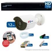 Kit CFTV 12 Câmeras Bullet Infra HD 720p FBR + DVR Luxvision All HD + Acessórios