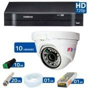 Kit CFTV 10 Câmeras Dome Infra HD 720p FBR + DVR Intelbras Multi HD + Acessórios