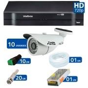Kit CFTV 10 Câmeras Infra HD 720p Tudo Forte 30Mts + DVR Intelbras Multi HD + Acessórios