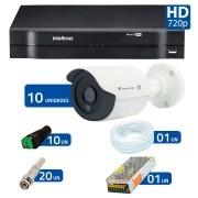 Kit CFTV 10 Câmeras Infra Tecvoz HD 720p QCB-128P + DVR  Intelbras Multi HD + Acessórios