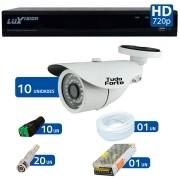 Kit CFTV 10 Câmeras Infra Tudo Forte HD 720p  + DVR Luxvision All HD 5 em 1 ECD + Acessórios