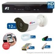 Kit CFTV 12 Câmeras Bullet Infra HD 720p FBR + DVR FBR + Acessórios