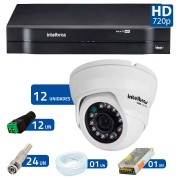 Kit 12 Câmeras de Segurança Dome HD 720p Intelbras VMD 1010G3 + DVR Intelbras Multi HD + Acessórios