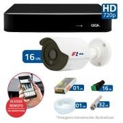 Kit CFTV 16 Câmeras Bullet Infra HD 720p FBR + DVR Giga Security + Acessórios