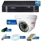 Kit CFTV 16 Câmeras Dome Infra HD 720p FBR + DVR Intelbras Multi HD + Acessórios