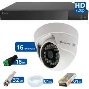 Kit CFTV 16 Câmeras Infra 720p Tecvoz Flex QDM 128P - DVR Tecvoz Flex 4 em 1 + Acessórios