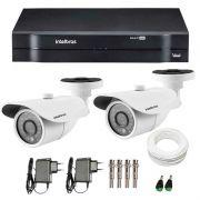 Kit 2 Câmeras de Segurança HD 720p Intelbras VM 3120 IR G3 + DVR Intelbras Multi HD + Acessórios