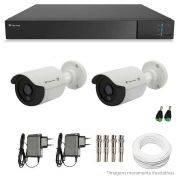 Kit CFTV 2 Câmeras Infra Tecvoz HD 720p CB-128P + DVR Flex Tecvoz + Acessórios