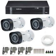 Kit CFTV 3 Câmeras Infra 720p Intelbras VHD 3120B G3 + DVR Intelbras Multi HD + Acessórios
