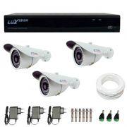 Kit CFTV 3 Câmeras Infra Tudo Forte HD 720p  + DVR Luxvision All HD 5 em 1 ECD + Acessórios