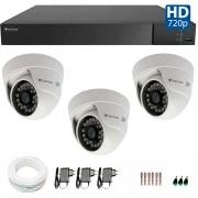 Kit CFTV 3 Câmeras Infra 720p Tecvoz Flex QDM 128P - DVR Tecvoz Flex 4 em 1 + Acessórios