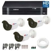 Kit CFTV 3 Câmeras Infra HD 720p FBR + DVR Intelbras Multi HD + Acessórios
