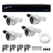 Kit CFTV 4 Câmeras Infra Tudo Forte HD 720p  + DVR Luxvision All HD 5 em 1 ECD + Acessórios