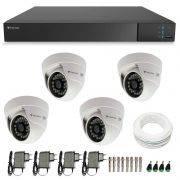 Kit CFTV 4 Câmeras Infra 720p Tecvoz Flex QDM 128P - DVR Tecvoz Flex 4 em 1 + Acessórios