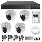Kit CFTV 4 Câmeras Infra 720p Tecvoz Flex QDM 128P - DVR Tecvoz Flex 4 em 1 + HD 1TB + Acessórios