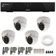 Kit CFTV 4 Câmeras Infra 720p Tecvoz Flex QDM 128P - DVR Tecvoz HDTVI + Acessórios