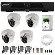Kit CFTV 4 Câmeras Infra 720p Tecvoz Flex QDM 128P - DVR Tecvoz HDTVI + HD 1TB + Acessórios