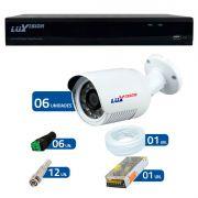 Kit CFTV 6 Câmeras Infra 720p Luxvision LVC5125B  + DVR Luxvision ECD + Acessórios