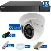 Kit CFTV 6 Câmeras Infra 720p Tecvoz Flex QDM 128P - DVR Tecvoz Flex 4 em 1 + Acessórios