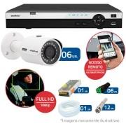 Kit CFTV 6 Câmeras Infra Full HD 1080p Intelbras VHD 3230 G3 + DVR Intelbras Full HD 16 Ch + Acessórios