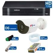 Kit CFTV 6 Câmeras Infra HD 720p FBR + DVR Intelbras Multi HD + Acessórios