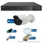 Kit CFTV 6 Câmeras Infra Tecvoz HD 720p CCB-128P + DVR Flex Tecvoz + Acessórios
