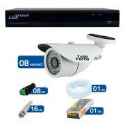 Kit CFTV 8 Câmeras Infra Tudo Forte HD 720p  + DVR Luxvision All HD 5 em 1 ECD + Acessórios