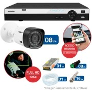 Kit CFTV 8 Câmeras Infra Full HD 1080p Intelbras VHD 1220B IR + DVR Intelbras Full HD 16 Ch + Acessórios