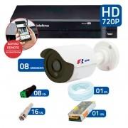 Kit CFTV 8 Câmeras Infra HD 720p FBR + DVR Intelbras Multi HD + Acessórios