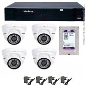 Kit CFTV IP 04 Câmera IP 1Mp HD 720p Intelbras VIP 1120 D + NVD 1108 Intelbras, NVR, HVR + HD 1TB