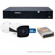 Kit CFTV IP 08 Câmera IP 1Mp HD 720p Intelbras VIP 1120 B + NVD 1108 Intelbras, NVR, HVR