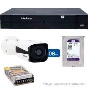 Kit 08 Câmeras de Segurança IP 1Mp HD 720p Intelbras VIP 1120 B + NVD 1108 Intelbras, NVR, HVR + HD WD Purple 1TB