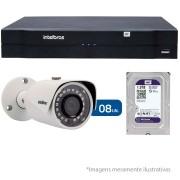 Kit 08 Câmeras de Segurança IP 1Mp HD 720p Intelbras VIP S 3020 G2 + NVD 1108 Intelbras, NVR, HVR + HD WD Purple 1TB