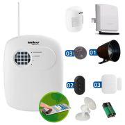 Kit de Alarme Intelbras 04 Sensores com Discadora por Telefone fixo e Discadora Celular GSM ECP Sem Fio