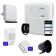Kit de Alarme Simples Duplo Sem Fio com Discadora GSM Connect Cell GSM
