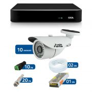 Kit de Câmeras de Segurança - DVR Giga Security 16 Ch Tri-Híbrido AHD + 10 Câmeras Bullet Infravermelho 1000 Linhas Tudo Forte 2,8mm IP66 + Acessórios
