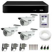 Kit de Câmeras de Segurança - DVR Giga Security 4 Ch Tri-Híbrido AHD + 3 Câmeras Bullet Infravermelho 1000 Linhas Tudo Forte 2,8mm IP66 + HD WD Purple +  Acessórios