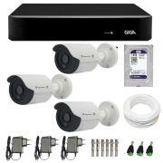 Kit de Câmeras de Segurança - DVR Giga Security 4 Ch Tri-Híbrido AHD + 3 Câmeras Bullet Infravermelho Flex 4 em 1 Tecvoz QCB-136P HD 720p 1.0M + HD WD Purple + Acessórios