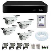 Kit de Câmeras de Segurança - DVR Giga Security 4 Ch Tri-Híbrido AHD + 4 Câmeras Bullet Infravermelho 1000 Linhas Tudo Forte 2,8mm IP66 + HD WD Purple + Acessórios